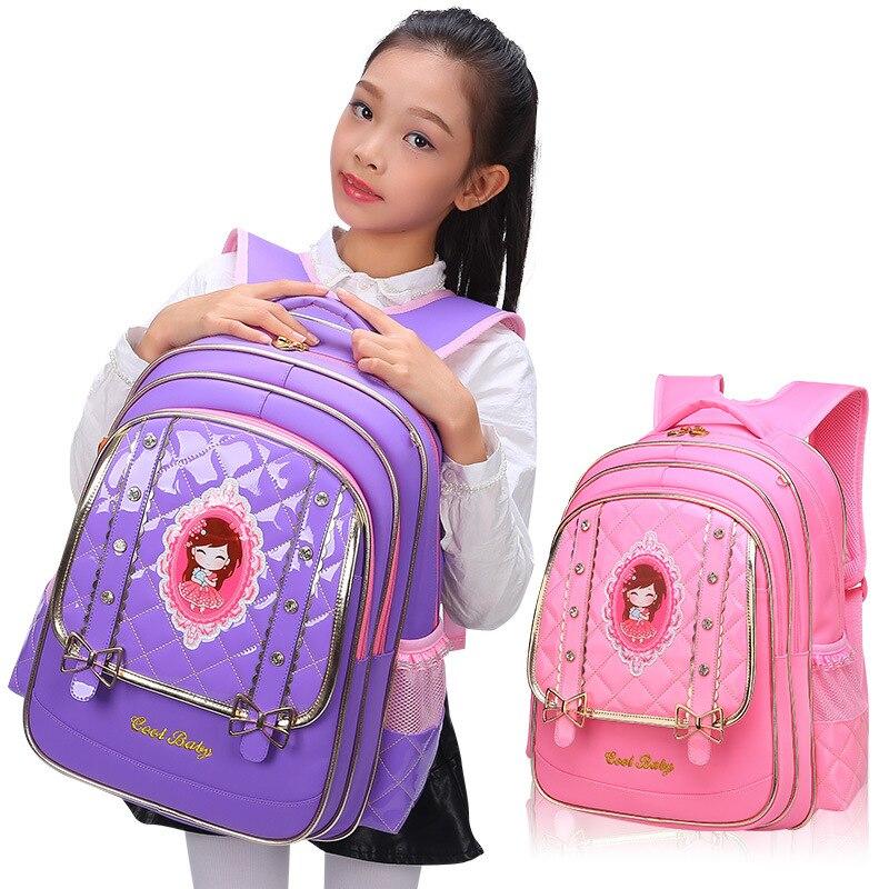 New 2018 Children Bags For School Backpacks Girls Princess School Bags PU Leather Primary School Backpack knapsack Kids Satchels