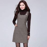 2018 Women Spring Autumn Lattice Woolen Tank Dress Houndstooth Sundress Winter Casual Slim Big Size Plaid