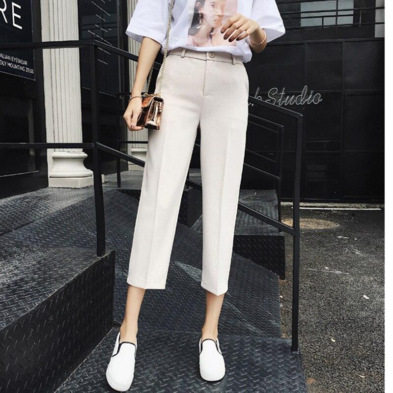 New Spring Summer 2018 Korean Style   Wide     Leg     Pants   Women Calf-length High Waist Suit   Pant   Casual Trousers Plus Size S-XXL