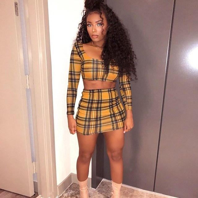 531966524a 2018 Summer Women Plaid Two Pieces Set Sexy Square Collar Crop Top and Skirts  Suits Fashion Elastic Waist Mini 2 Piece Set