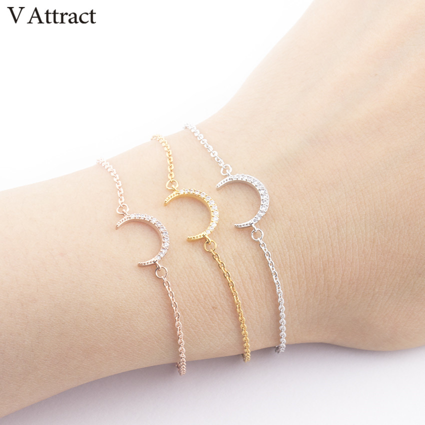 V Attract Rose Gold Pulseras Vintage CZ Crescent Charm Bracelet & Bangle Women Jewelry Moon Statement Armbanden Voor Vrouwen