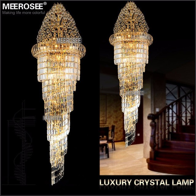 Long crystal chandelier light fixture classic golden chrome hotel long crystal chandelier light fixture classic golden chrome hotel crystal lamp for lobby stair hallway 100 aloadofball Images