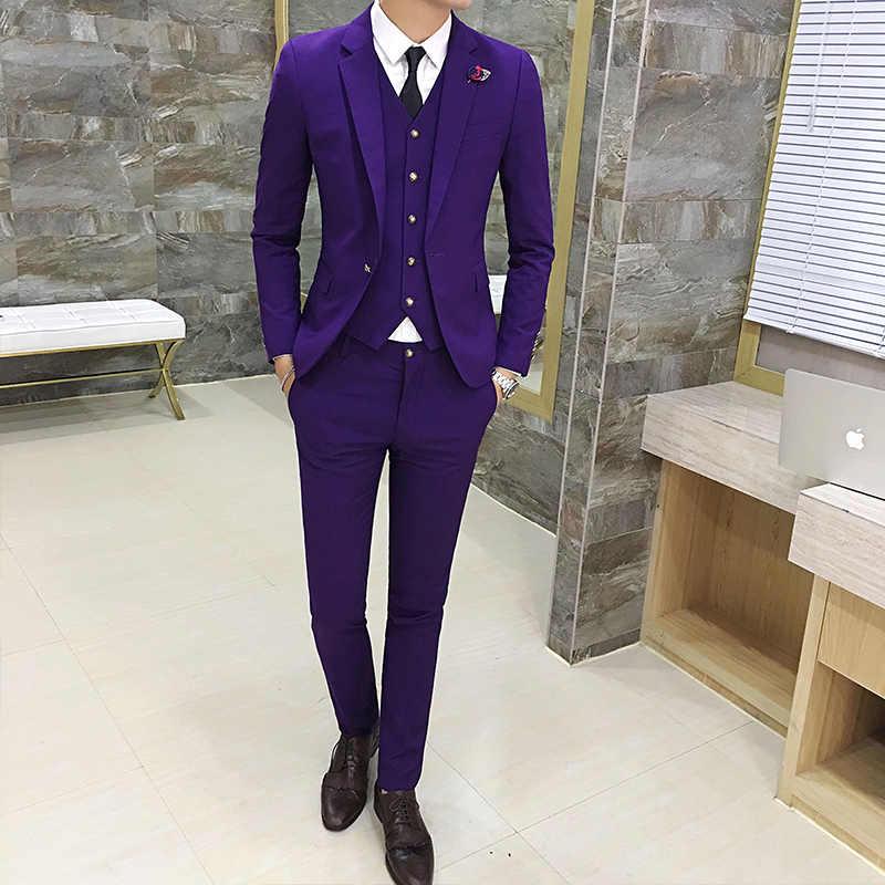 9f080672 Высокая-конец мужские костюмы мода Slim-fit Бизнес жениха Свадебные платья  Мужской классика Повседневное