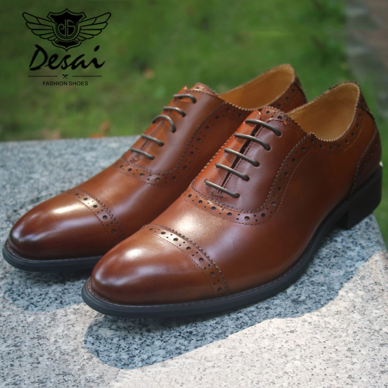 High Quality Men s Oxfords Shoes British Style Carved Genuine Leather Shoes Brown Brogue Shoes Lace