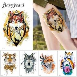 Glaryyears 24 дизайна 1 лист Татуировка животных TH стикер Волк тигр крутой узор временный водонепроницаемый боди-арт тату цветной рисунок