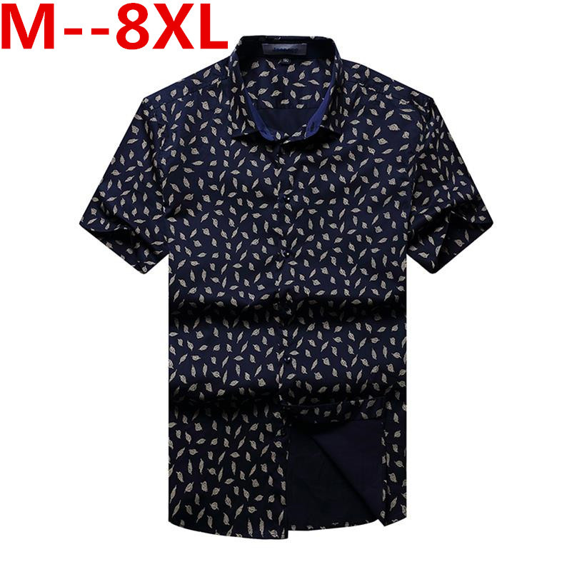 Large big size New Fashion Short Sleeve Silk Hawaiian Shirt Men Summer Casual Floral Shi ...