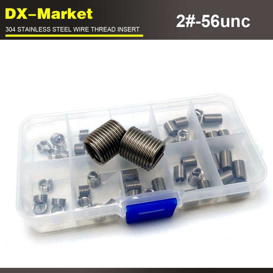 2#-56unc wire thread insert kit , 5size 100pcs , 304 stainless steel thread inserts kit, sus304 wire thread repair fasteners цены