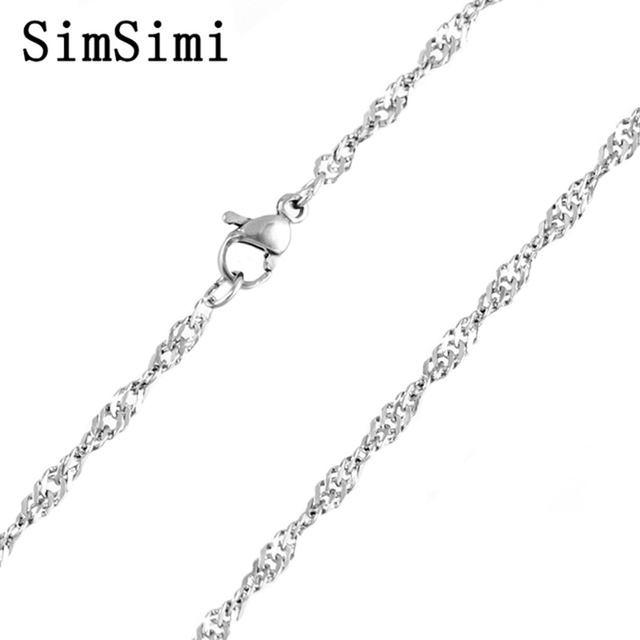 Waterwave Necklace 2.4mm Twisted Curb  Stainless Steel Chains Necklaces Bulk of Fashion Jewelry for love 10pcs Wholesale