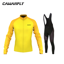 Cawanfly men Bike Shirt 100% Polyester Breathable Bicycle Clothes Summer UV Cycling Jersey Set Long Sleeve Cycling Clothing
