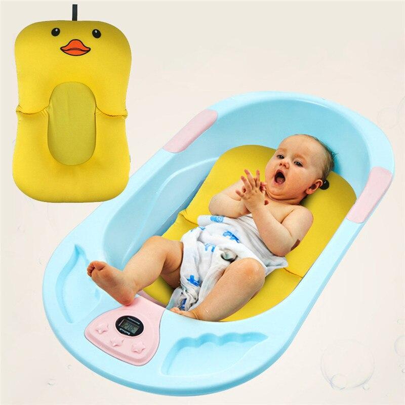 Cartoon Duckling Shape Baby Bath Mat Bathtub Pad Aid Anti-slip Bathing Mat Support Safety Bathtub Newborn Seat Soft Cushion
