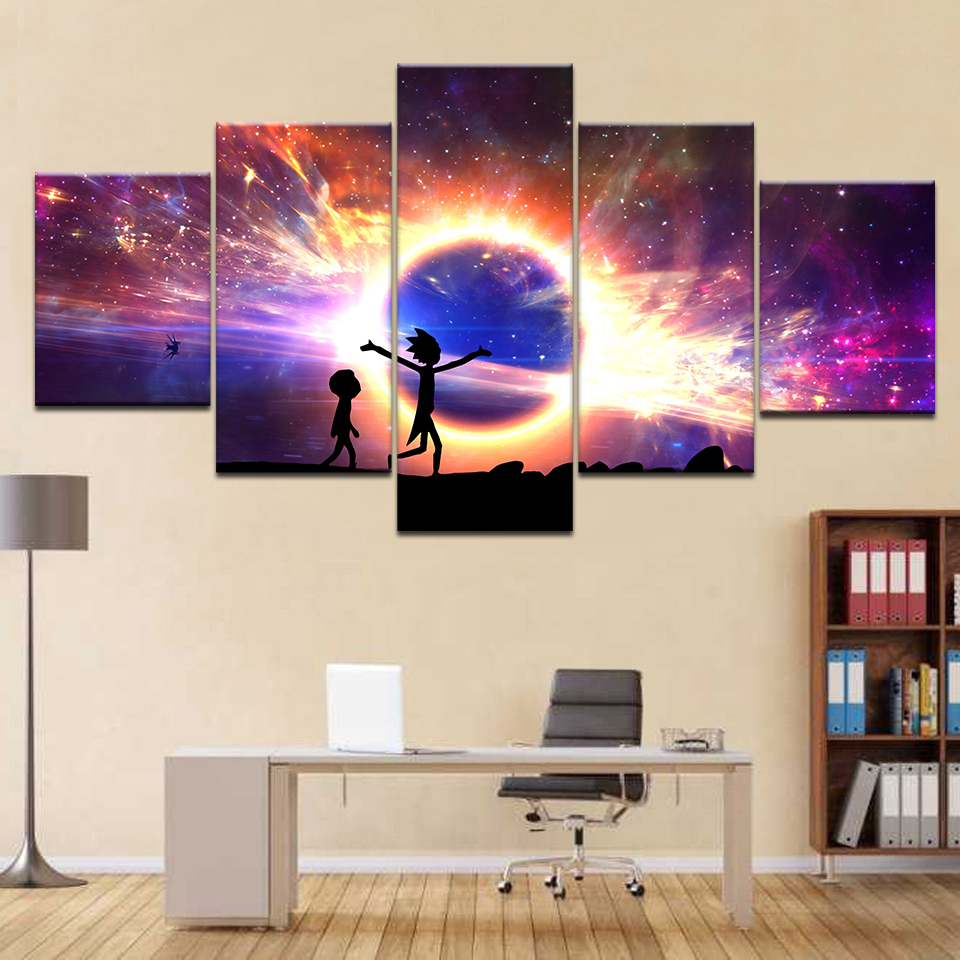 5 Panels Canvas Painting light Rick and Morty poster Wall Art Painting Modern Home Decor Picture For Living Room Framework