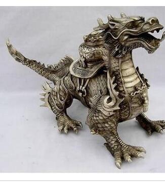 Objets de collection énorme tibétain argent chance Dragon Statue tibétain argent statue bronze magasins d'usine
