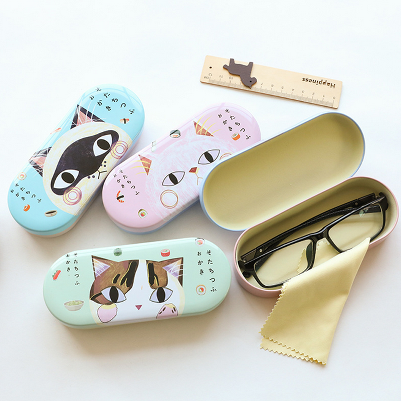 1 Pcs Creative Candy Color Lovely Cute Cartoon Little Cat Iron Tin Metal Glasses Box Spectacle Case Students Stationery Gift