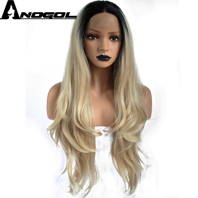 Anogol High Temperature Fiber Peruca 360 Frontal Black Ombre Blonde Long  Natural Wave Synthetic Lace Front Wig For Women Costume 61e85fc1a6