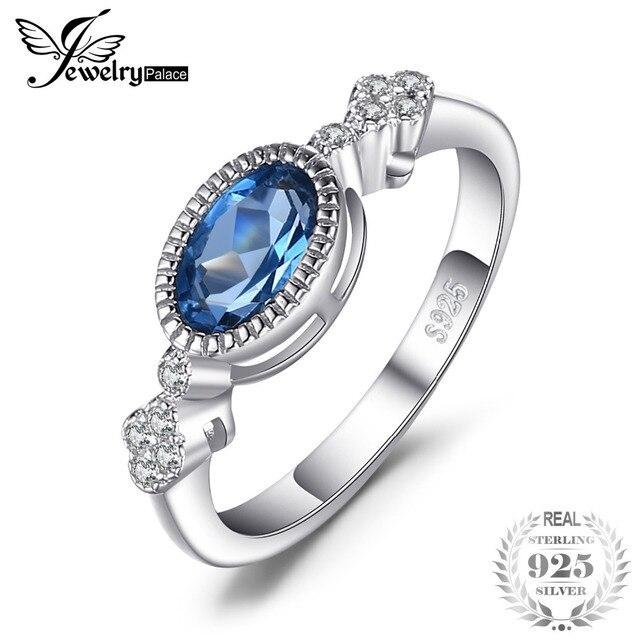 JewelryPalace Elegant 1ct Oval Shape Genuine London Blue Topaz Ring 925 New Brid