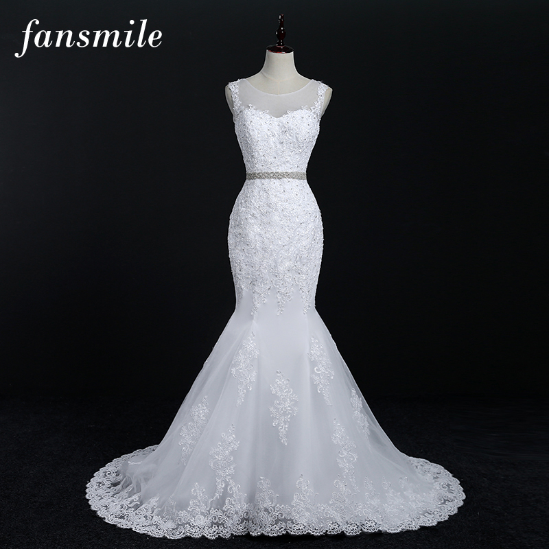 Fansmile Free Shipping Quality Lace Mermaid Wedding Dresses 2017 Plus Size Customized Bridal Gowns Real Photo Vestidos FSM-011M