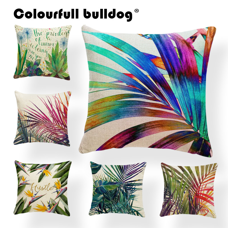 Plant Cushion Cover Leaves Pillow Cases Tropical Style Green Purple Coco Toss Pillow Yellow Geometr 45X45Cm Cotton Blend Cheap