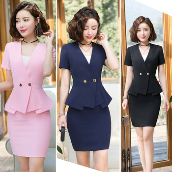 IZICFLY Summer Office Clothes Formal Ladies Business Uniform Pink Elegant Mini Women Skirt Suits And Jacket Formal Work 4XL formal work wear uniform styles professional spring summer business suit vest skirt ol blazers women skirt suits outfits sets