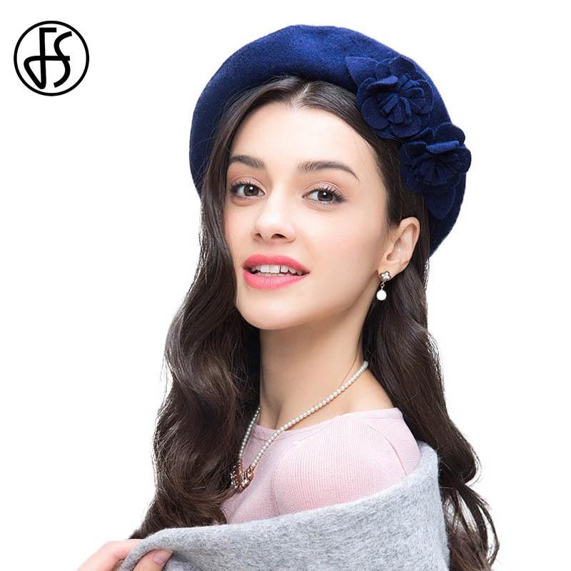FS Azul Royal 100% Boinas De Lã Para As Mulheres Flores de Feltro Beret  Francês Artista Beanie Hat Inverno Feminino Aeromoça Chapéus Do Vintage  boina em ... 6f1726e4cc8