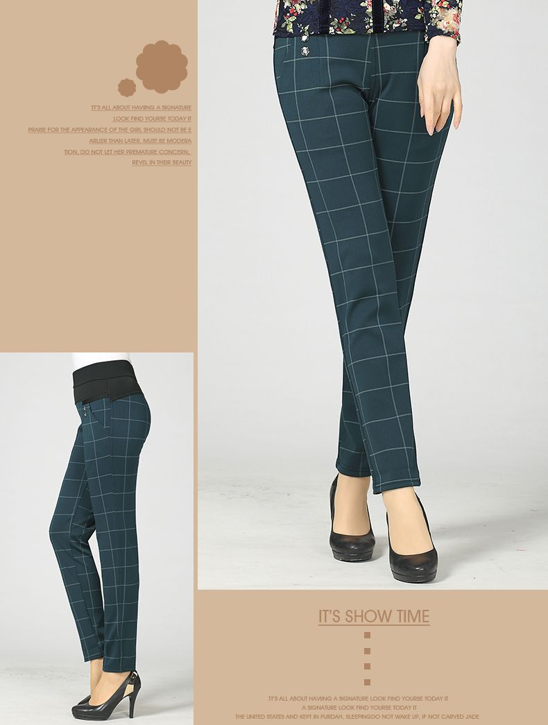 Woman Casual Pant Navy Blue Green Black Plaid Trousers Women Spring Autumn Winter Trouser High Waist Elastic Band Pantalonese Mujer  (12)