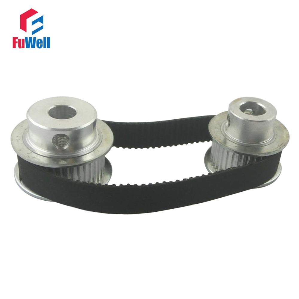 Timing Belt Pulley XL Reduction 1:3/3:1 10T 30T Shaft Center Distance 80mm 104XL Belt Gear Kit Ratio Timing Belt Pulley Set