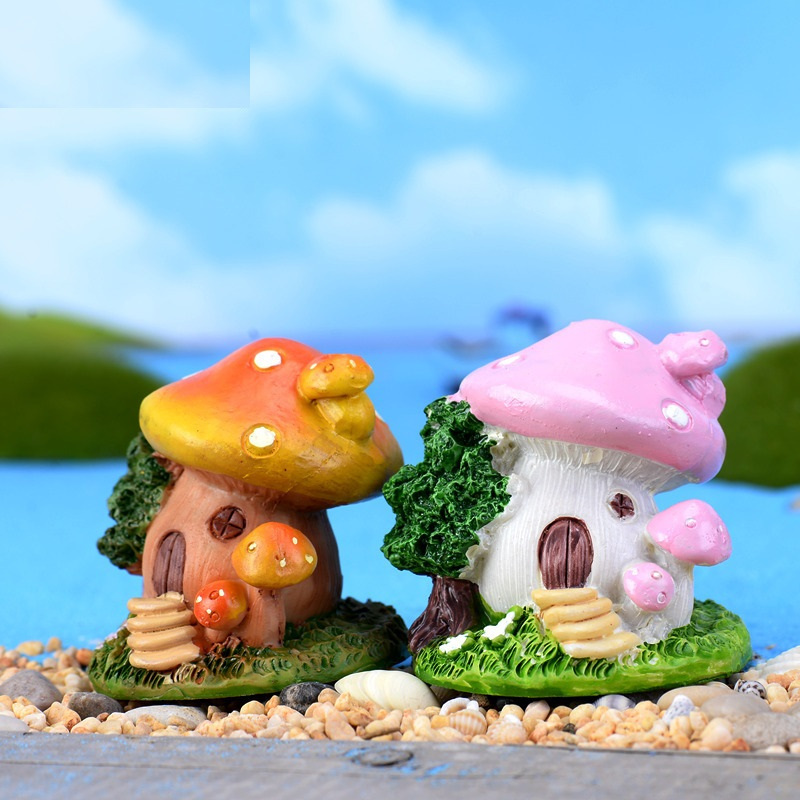 Cute Garden Mini Mushroom House Micro Figurine Resin Craft Decorative Ornament Tiny Fairy World Bonsai Decoration