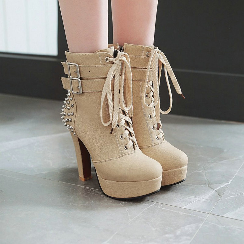 Grande 48 Mujeres Tachuelas Botines Negro Zapatos Altos 80wOPmNnyv