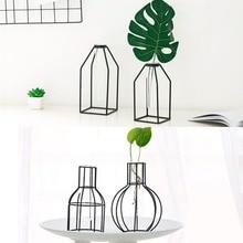 1PC Iron Planter Test Tube Transparent Glass Hydroponic Geometric Flower Vase Stand Home Decoration Ornament JL 219