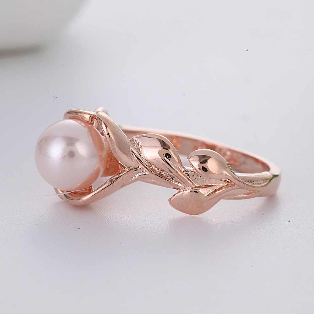 Rose Gold Leaves แหวนสำหรับงานแต่งงานของขวัญหมั้นแหวนมุกแหวนคลาสสิก Luxur เครื่องประดับ Bague Femme Anel Z3D070