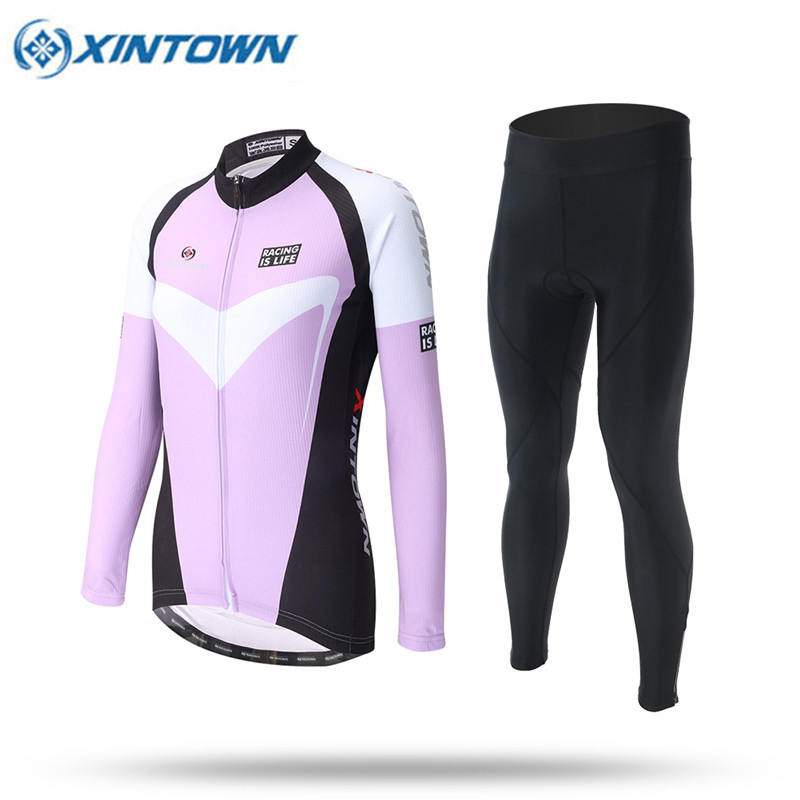 XINTOWN Spring Long Sleeve Woman UV Protect Cycling Jerseys Suit Mountain Bike Quick Dry Riding Jersey Pants Bike Clothing Sets 176 top quality hot cycling jerseys red lotus summer cycling jersey 2017s anti uv female adequate quality sleeve cycling clothin