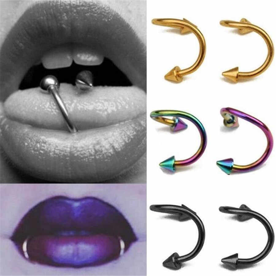 2pc Stainless Steel S Style Spike Labret Lips Rings Tongue Eyebrow Tragus Earring Nose Ring Closure Nipple Body Piercing Jewelry