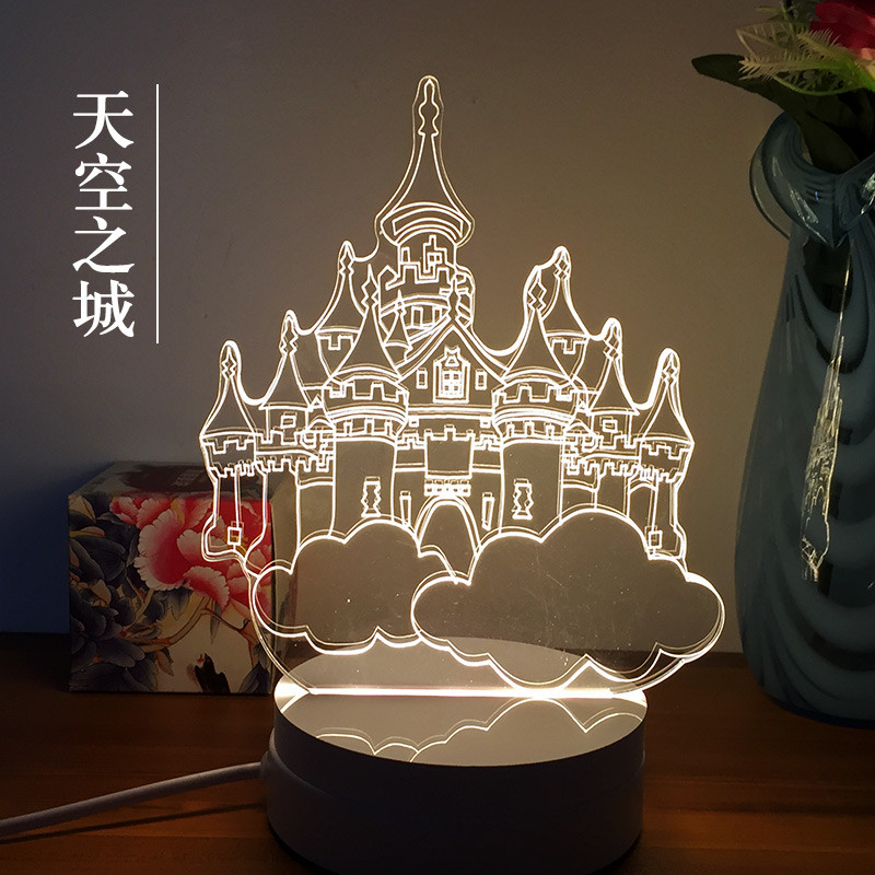 3D Nightlight creative novelty gift to send to friends birthday cat animation desk lamp bedside lamp.