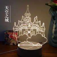 3D Nightlight criativo novidade presente para enviar aos amigos do aniversário animação gato lâmpada de mesa lâmpada de cabeceira.