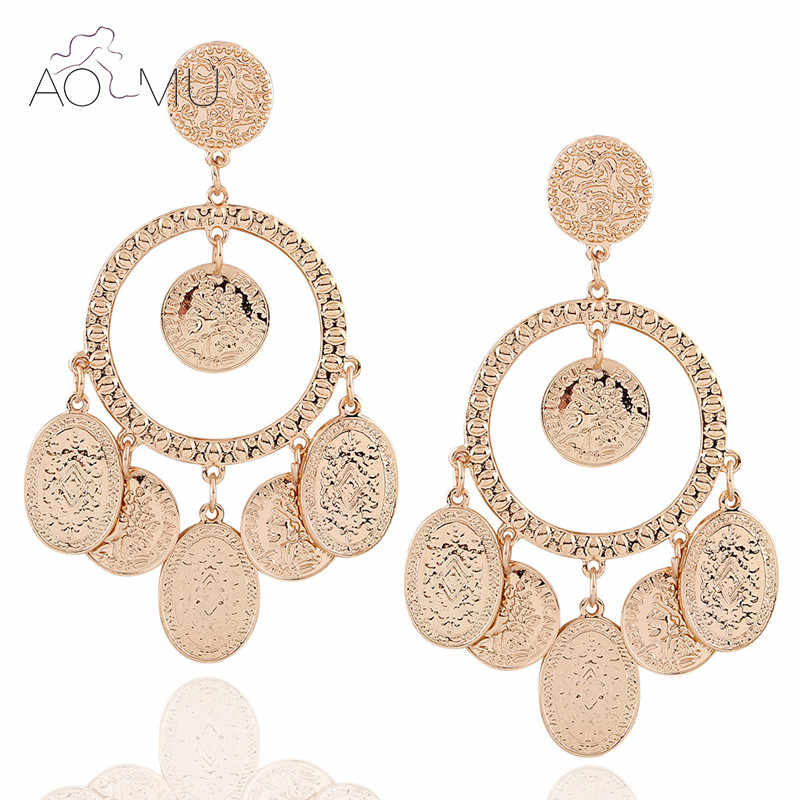 AOMU Baroque Coin Tassel Long Drop Earrings Women Gold Color Dangle Earrings Big Bohemia Jewelry Statement Brincos Pendientes