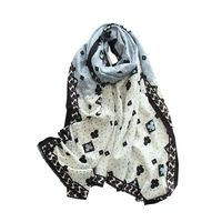 classic beige blue multi color printed cashmere wool blend women fashion mid thin scarf shawl pashmina 65 x200cm