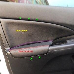 Image 1 - 4PCS Car Styling Interior Microfiber Leather Door Panel Armrest Cover Sticker Trim For Honda CRV 2012 2013 2014 2015 2016 2017