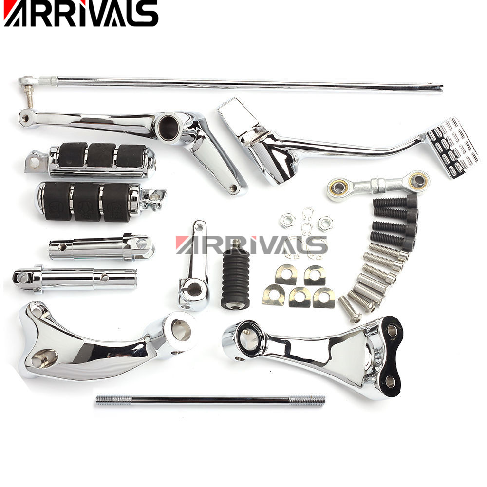 Black Forward Controls Pegs Levers Linkages For Harley XL 883 1200 06-13 Parts