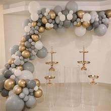 Белый серый латексный шар хромированная Золотая Полоска для воздушных шаров металлический Свадебный день рождения воздушный шар для Бэйби...