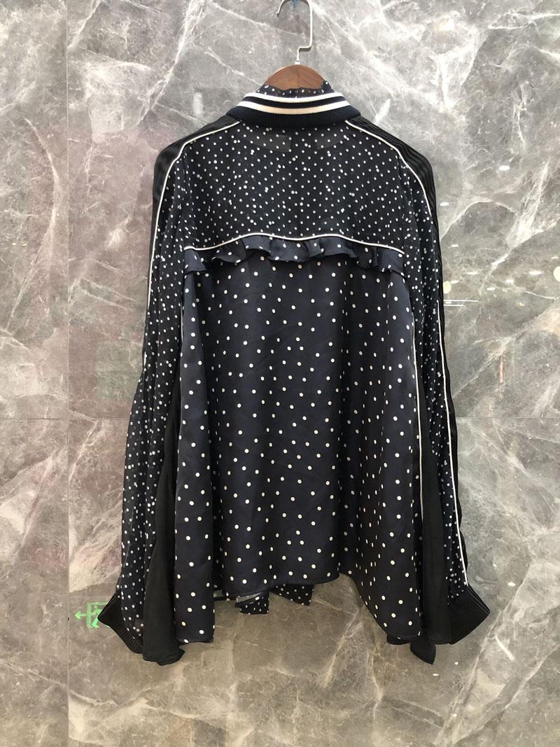 Gravures Chemise 2 Dots 2019 Couleur Ruches Femme Printemps Xiaoxiao Mode OwqFBA