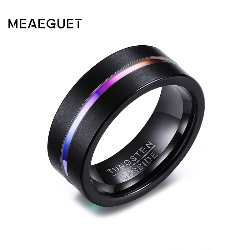 Meaeguet 8MM Black Tungsten Ring For Men Women Wedding Bands Trendy Rainbow Carbide Groove Rings Jewelry USA Size