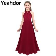 Kids Girls szyfonowa bez rękawów kwiecista koronka wycięcie z tyłu dziewczęca sukienka w kwiaty dla księżniczki formalna korowód ślubna sukienka na przyjęcie urodzinowe