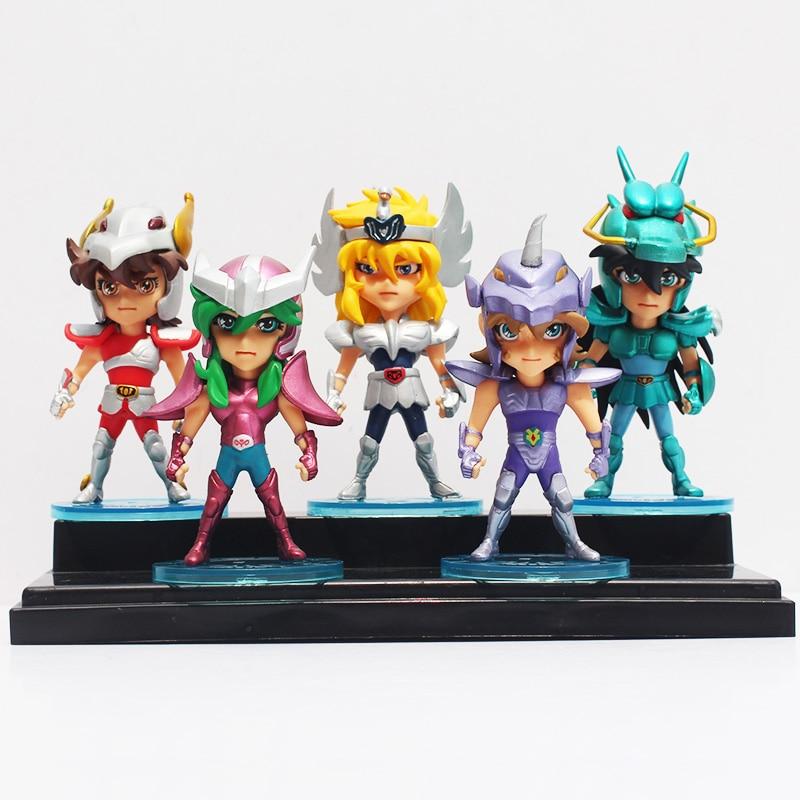 ФОТО 5pcs/set anime saint seiya figure ikki shiryu hyoga seiya shun action figure pvc collectible model doll toys 10cm
