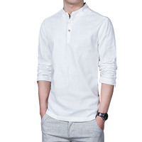 Summer Long Sleeve Linen Casual Shirt For Men Asian Size M 5XL Pure Color Chinese Style