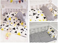 Neu Kommen Baby Kindergarten Baby Bettwäsche Set Weiche Warme Kinder kind Baumwolle Bett Kindergarten Bettwäsche, duvet/Blatt/Kissen, mit füllung