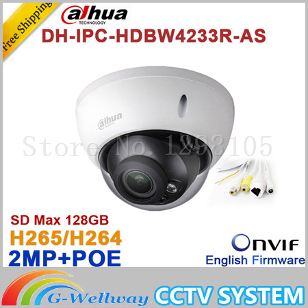 Wholesale Dahua DH-IPC-HDBW4233R-AS 2MP IR Mini Dome Network IP Camera IR POE Audio SD card Stellar H265/H264 IPC-HDBW4233R-AS