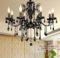 Wholesale wrought iron luxury black color crystal chandeliers, E12/14, 220 240V