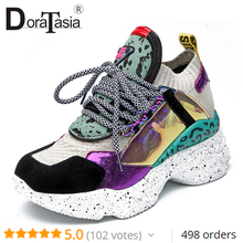 DoraTasia New 35-42 Genuine Leather Suede Sneakers Women 2019 Summer Horsehair Platform Dad Shoes Casual Flat Women Shoes Woman