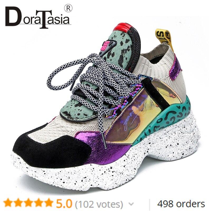 DoraTasia nouveau 35-42 en cuir véritable daim Sneakers femmes 2019 été crin de cheval plate-forme papa chaussures décontracté plat femmes chaussures femme