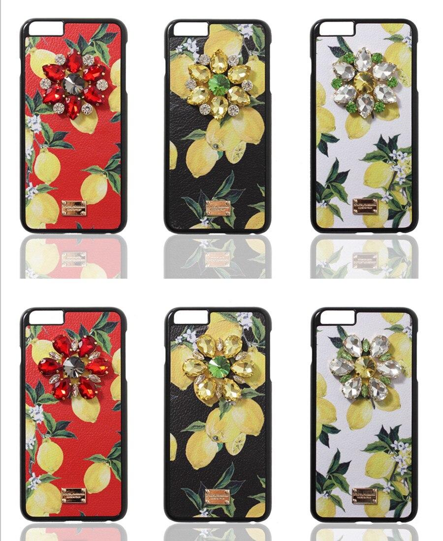 imágenes para Sicilia lemon frutas de lujo cristal de diamante cubierta del teléfono del cuero case coque para iphone 6s 6 7 más casos de diamantes de imitación de flores