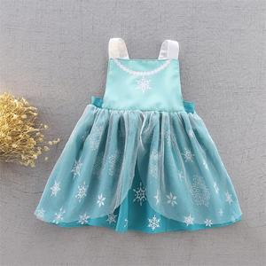 Image 3 - תינוק ילדה עמיד למים סינר שמלת בנות Cartoon נסיכת ציור סרבל שמלת כולל 2 7Y E1119